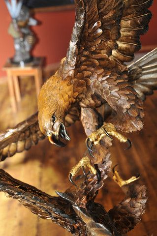 """Conflict of the Golden Eagles"" Artist - Chester Fields Limited Edition Bronze 60"" High. -Bronze eagle sculpture -Available for purchase.  #Eagles"