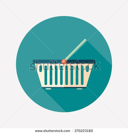 Colorful food basket flat round icon with long shadows. #flaticons #vectoricons #flatdesign