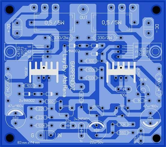 PCB Power Amplifier OCL Garpendoz