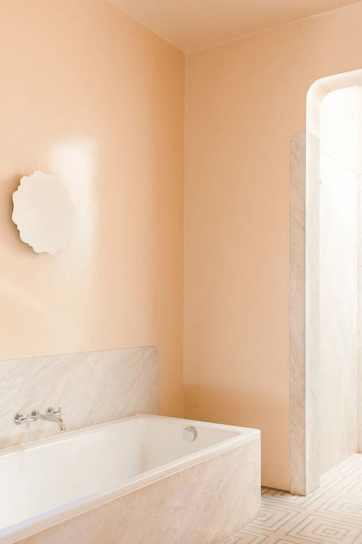 Flattering Peach Paint Color, What Color Goes With Peach Bathroom