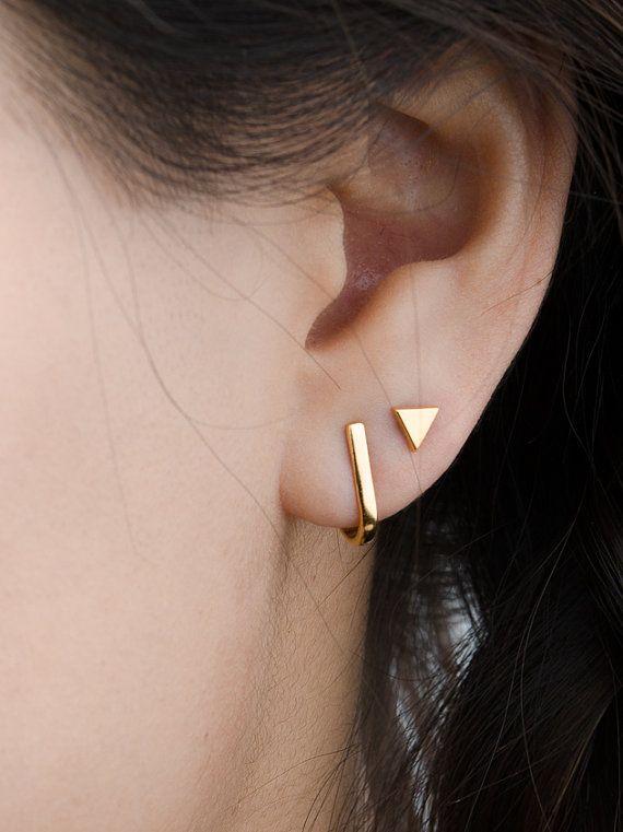 Hook Stud Earrings, Sterling Silver & Gold Plated, Dainty Post Earrings, Minimalist Studs, Modern Jewelry, Christmas gift, STD063