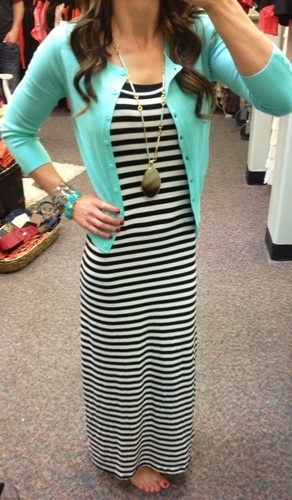A mint cardigan over a super cute black and white striped maxi dress! #summerstyle