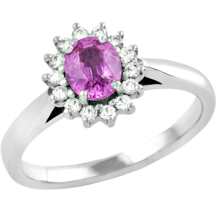 Inel cu Safir Roz si Diamant Dama Aur Alb 18kt cu un Safir Roz Oval in Centru si Diamante Rotunde Model.#: RDPK681W
