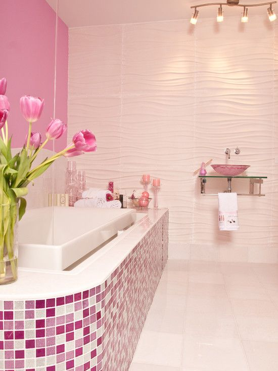 Pink glitter glass mosaic tile tub surround. So fun and modern, and what girl wouldn't want a pink bathroom!
