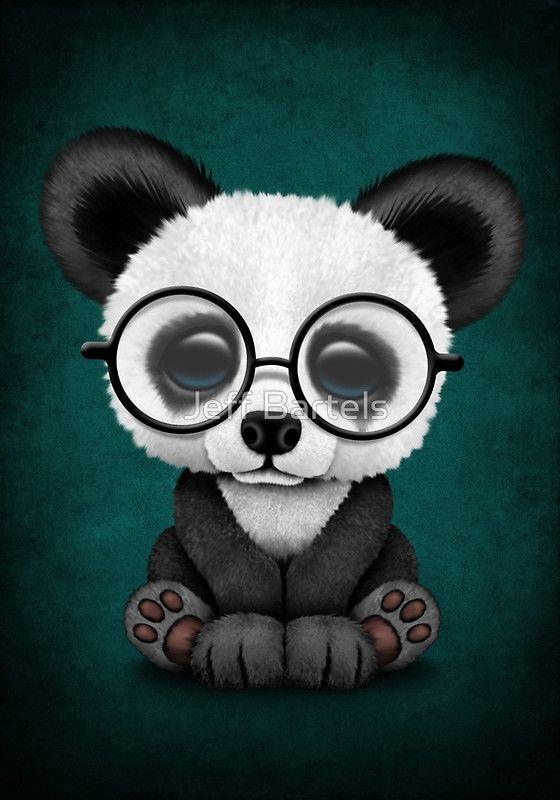 Cute Panda Bear Cub with Eye Glasses on Teal Blue   Jeff Bartels