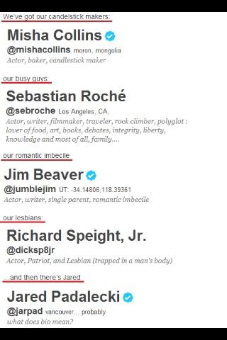#Supernatural Misha Collins, Sebastian Roche, Jim Beaver, Richard Speight Jr. Jared Padalecki