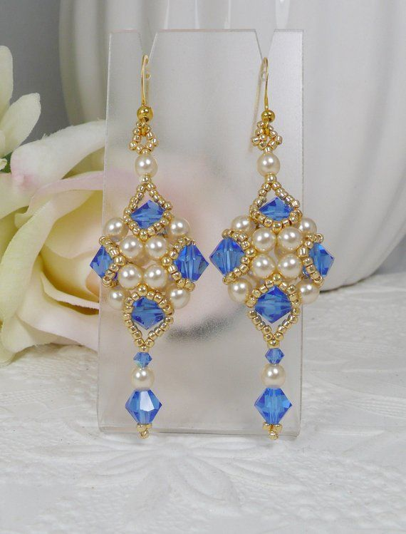 d8c54f8d16a7 Woven Dangle Earrings Sapphire Blue Swarovski Crystal Vintage ...
