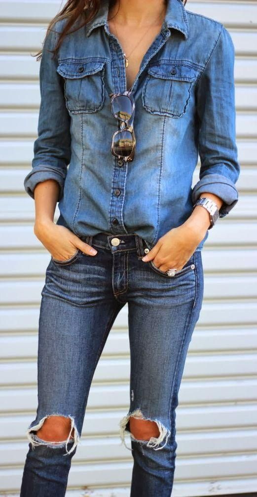 """Denim on denim? I'm pretty sure the proper term is """"Canadian tuxedo"""". Either way, I love the look. www.bebuzee.com"""