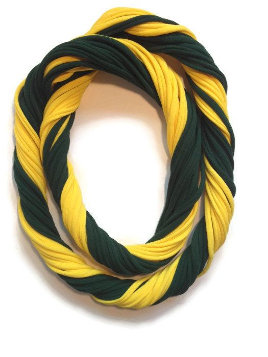 Oregon Ducks Loopy Infinity Scarf - Upcycled from Recycle Tshirts - Green Yellow University of Oregon Football Jersey Necklace