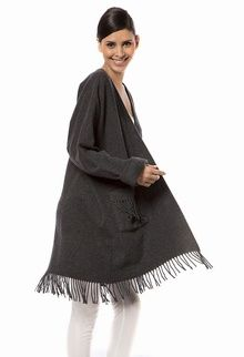 Ladies Knee Length One Size Wool Dressing Gown Poncho With Fringe