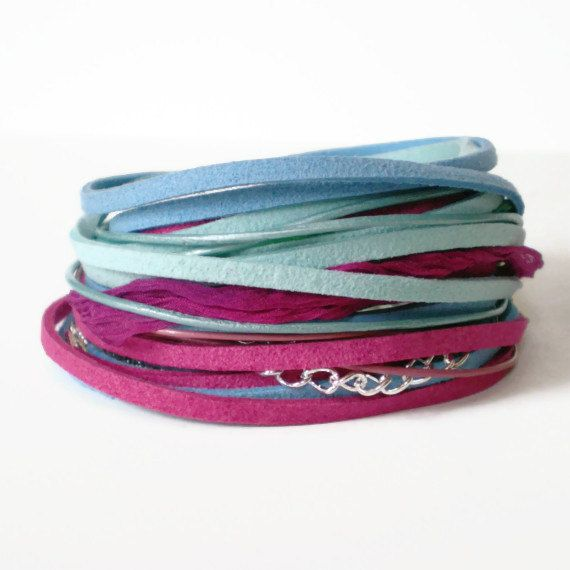 wrap bracelet suede ribbon wrap leather wrap by jcudesigns on Etsy, £18.00