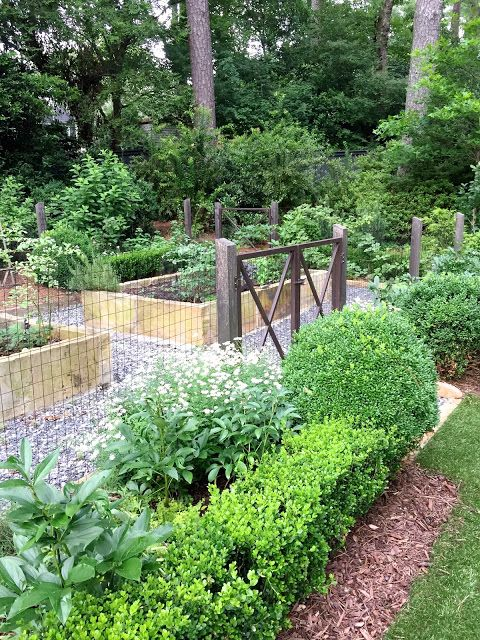 Vegetable Garden With Raised Beds, Fencing U0026 Boxwoods At Gate   Via Design  Indulgence