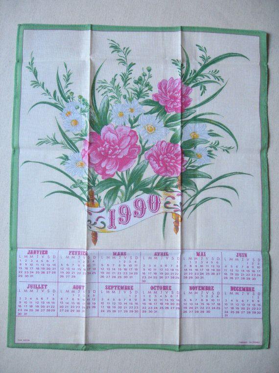 Torchon calendrier 1990 / Vintage français / Motif par LMsoVintage