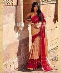 Peach & Pink Color Blended Cotton Casual Party Sarees : Karunya Collection  YF-43387