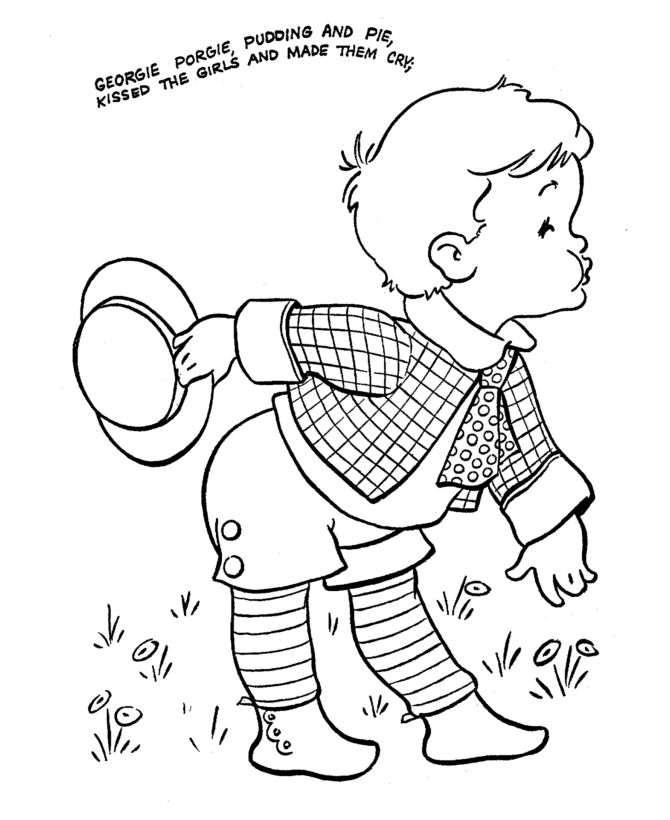 georgie porgie rhyme and coloring pages