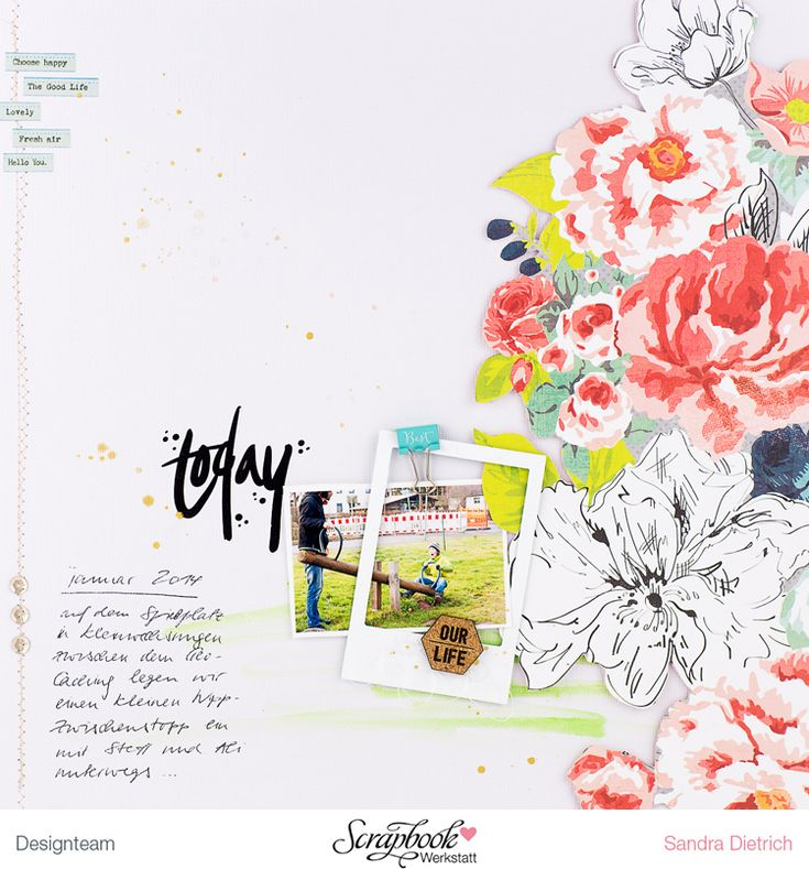mojosanti ♥ Sandra Dietrich: Layout 'Nuestra vida' con la Januarkit SBW I Nuevo diseño con kit mensual de Scrapbook Taller