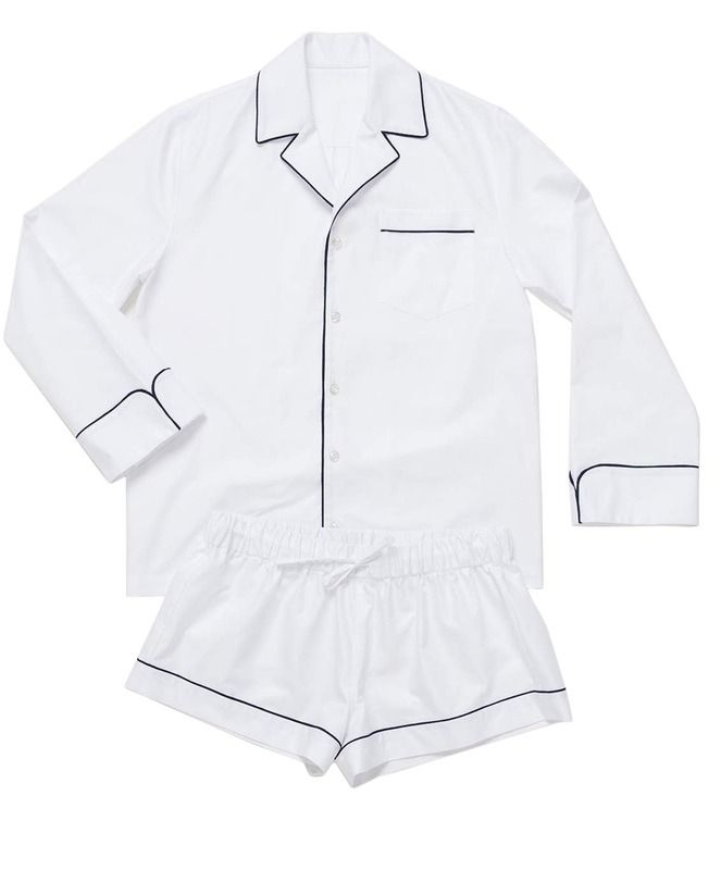 This white matching pajama set is so chic. We love the white with black piping detail... after all, luxury pajamas are something that every girl should invest in