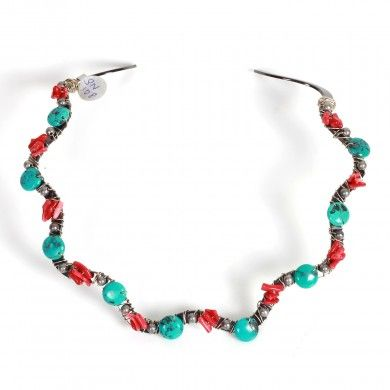 Turquoise & Coral Choker - A unique gunmetal plated choker decorated with Turquoise and Coral beads.