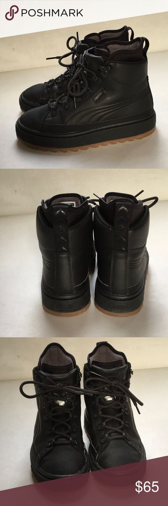 puma ren boots Puma ren boots U.K. 3, eur 36, us 4.5 kids kids do, like a 6ish ladies. Super cute lines water resistant boots! I love these, but they are just too big for me! Puma Shoes Sneakers