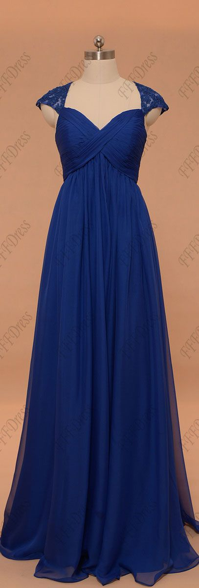 Royal blue evening dresses cap sleeves maternity bridesmaid dresses key hole back formal dress for pregnant