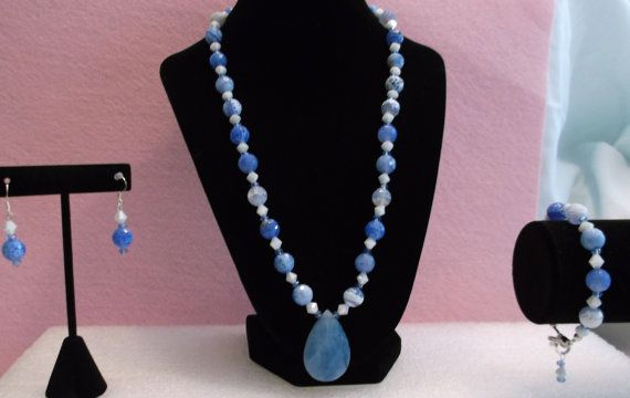 Buy Blue Line Agate Necklace Set by whitesquirrelgifts. Explore more products on http://whitesquirrelgifts.etsy.com
