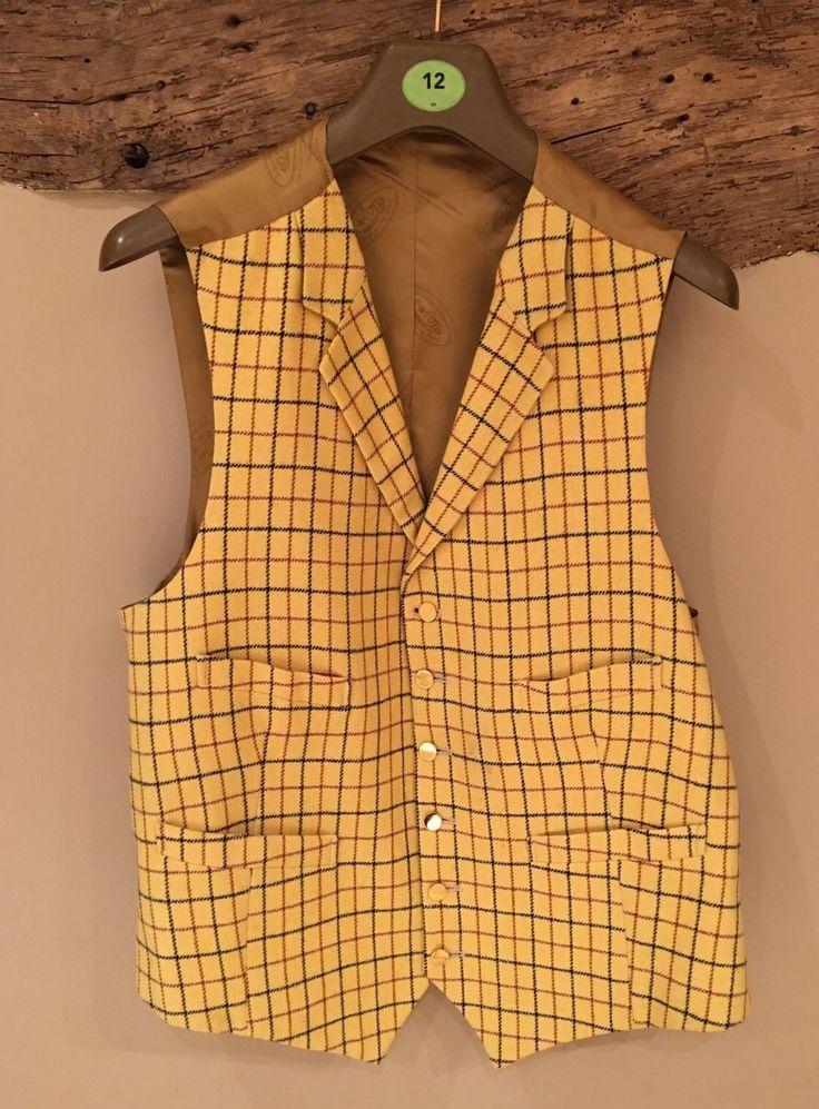 "Mens tweed waistcoat gold country shooting hunting check Sz 44"" Brocklehurst   eBay"