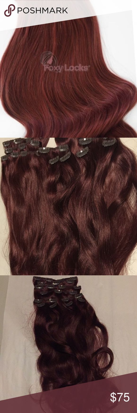 "Mahogany Red Clip In Human Hair Extensions New without tags! Never worn!   Colour: Mahogany Red  Weight: 120g     - Made from Remy Human Hair  - 10 wefts (Full head):  Two x 8"" wide with 4 clips Two x 6"" wide with 3 clips Two x 4"" wide with 2 clips Four x 2"" wide with 1 clip     The weight of this stunning set is 120 grams - Suitable for finer, longer hair.  Get your hands on beautiful clip in hair extensions. Add volume & length with Foxy Locks Clip ins. Foxy Locks Accessories Hair…"