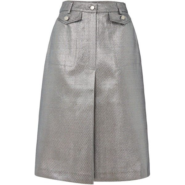 Lost Ink Metallic Midi Skirt ($50) ❤ liked on Polyvore featuring skirts, silver, women, calf length skirts, midi skirt, mid calf skirts, metallic midi skirt and metallic skirt