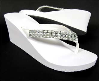 sparkly like you like too  $30 White Bridal Wedge Flip Flops with Rhinestone Straps--so cute!