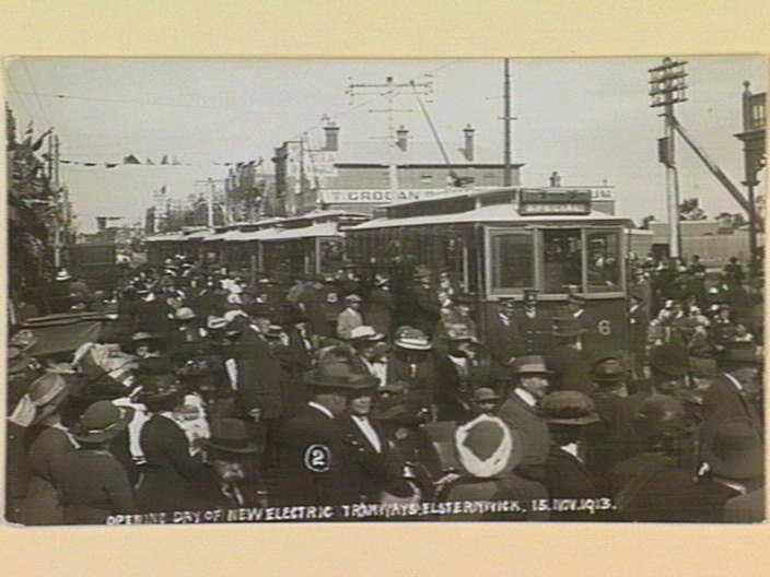 OPENING DAY OF NEW ELECTRIC TRAMWAYS. ELSTERNWICK. 13. NOV. 1913. [picture] , State Library of Victoria