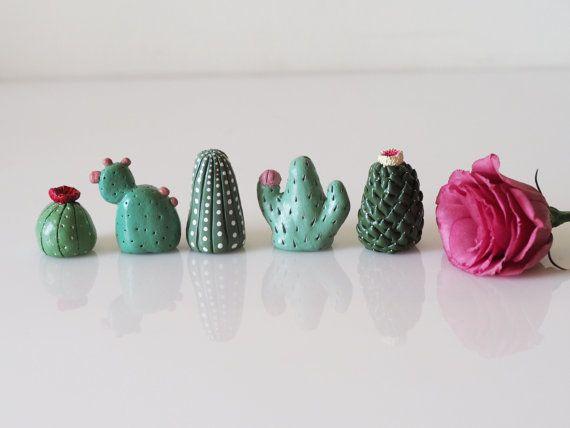Miniature cactus set of 5 - Collectible thimbles - Cactus garden decor - Cactus favors -Clay mini cactus -Small cactus - Fairy garden decor