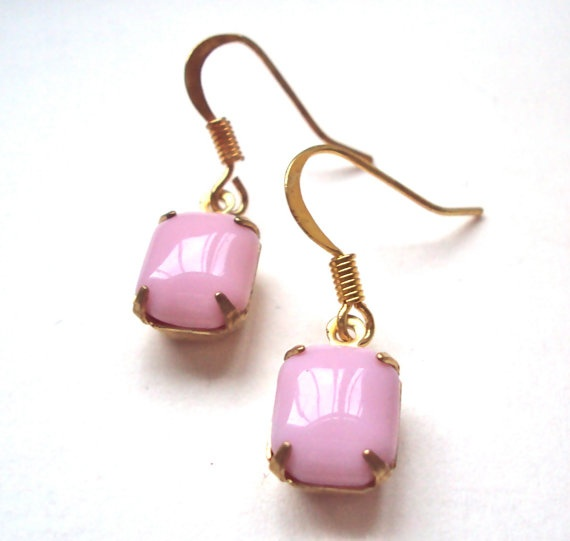 Vintage Pink Jewel dangly earrings by ABoxForMyTreasure on Etsy,