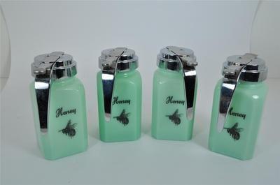 Lot of 4 New Jadite Honeybee Honey Bee Syrup Dispensers | eBay