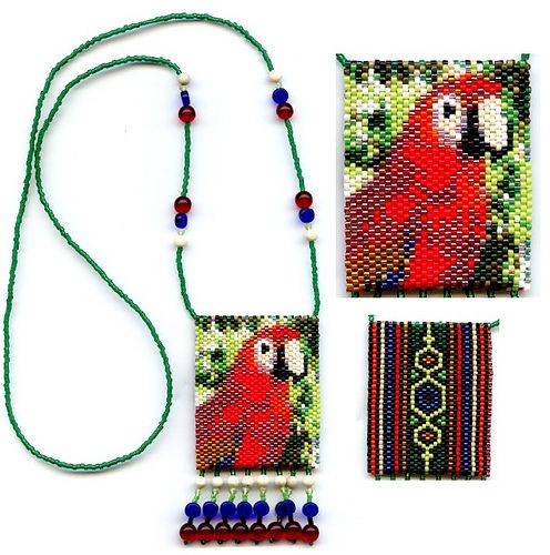 Tiny Parrot 41307 Beaded Amulet Bag Necklace