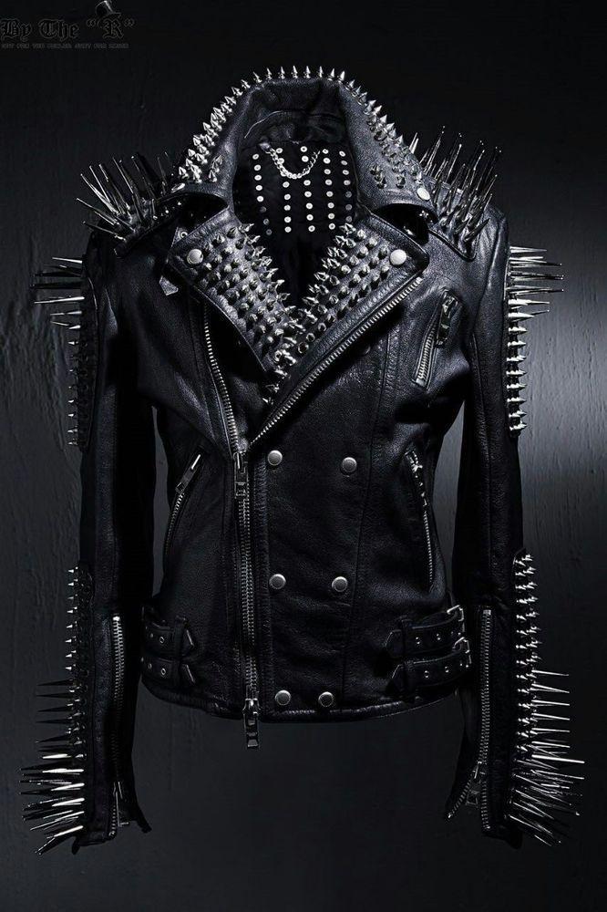 Mens Punk Style Full Black Biker Long Spikes Studded Leather Jacket All Sizes #Handmade #STUDDED #Formal