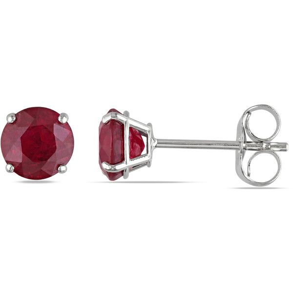Allurez Red Ruby Ear Pin Stud Earrings 14k White Gold (1.10ct) ($330) ❤ liked on Polyvore featuring jewelry, earrings, white, pin earrings, ruby earrings, 14 karat gold earrings, red stud earrings and 14k earrings