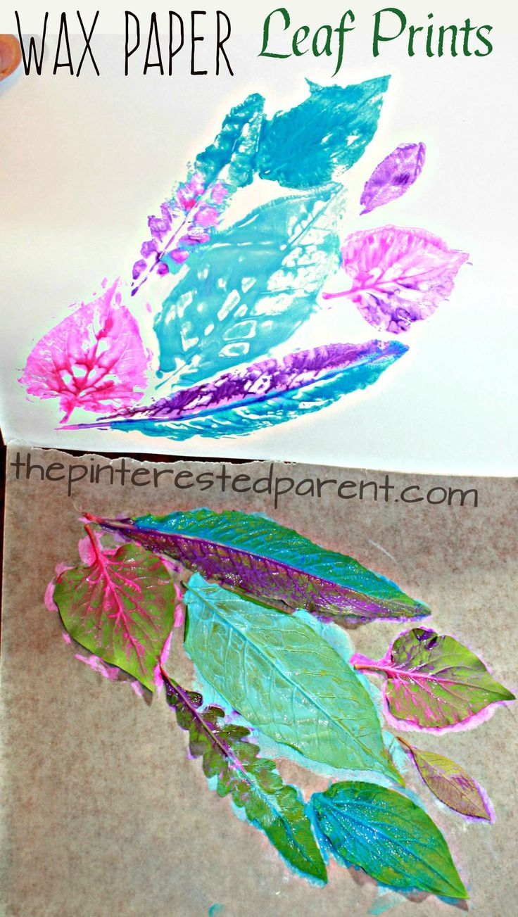 Leaf Nature prints on wax paper - printmaking ideas for kids. spring