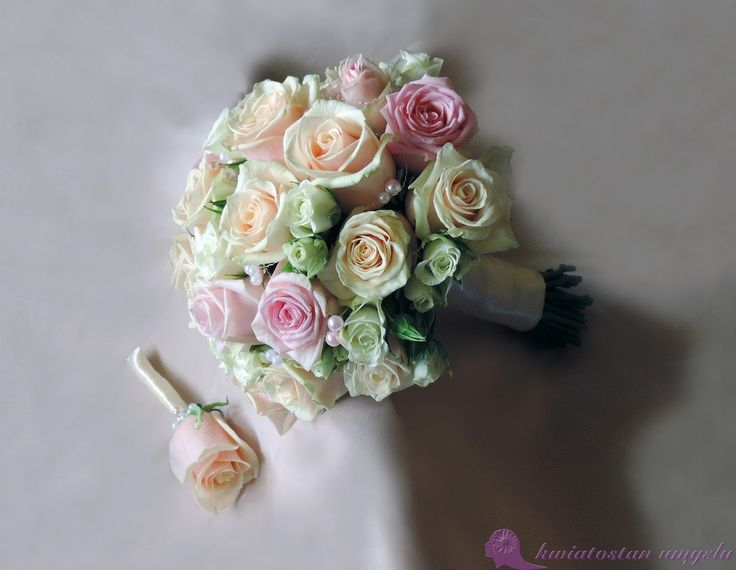 Wedding bouquet - pastel roses in three shades.