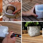 Make These Simple DIY Concrete Planters With Geometric Art