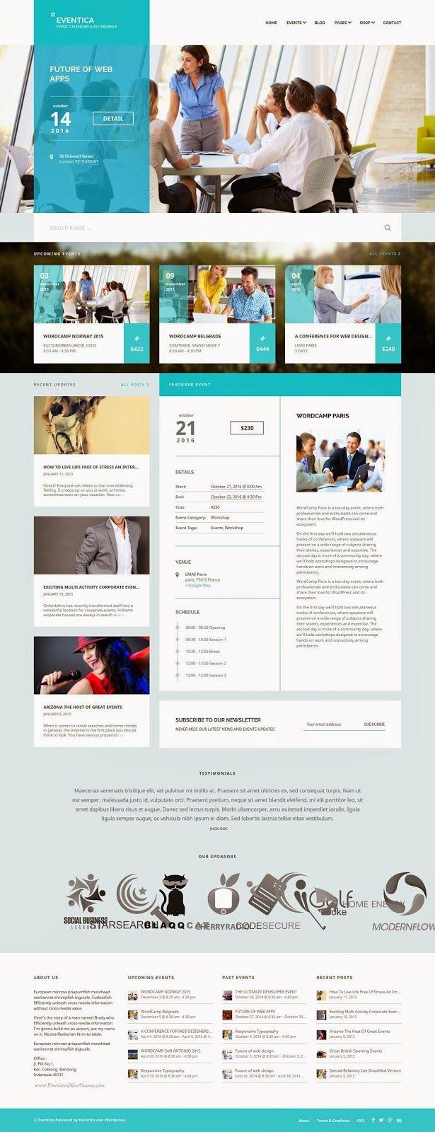 Sharepoint site design ideas - Unique Event Calendar And Ecommerce Wordpress Theme 2015 Event Websitewebsite Ideaswebsite Designsevent