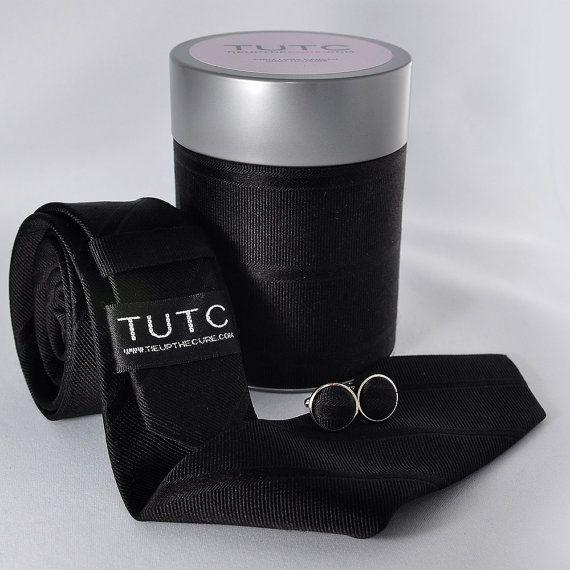 BLACK SKINNY TIE tube set by TieUpTheCure on Etsy