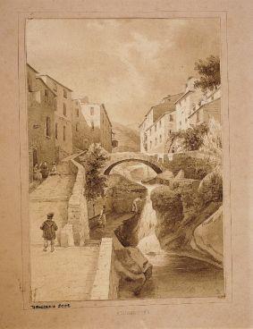 """Domenico Pasquale Cambiaso, Riomaggiore, il paese preso dal mare, 1860-1861 (dal catalogo """"Caffi e Genova""""..."""