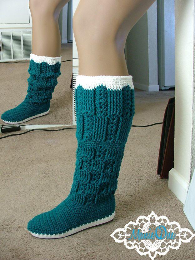 Manie One Textured Blocks Crochet Boots