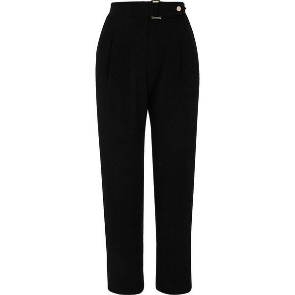 River Island Black buckle tapered trousers (£36) ❤ liked on Polyvore featuring pants, trousers, river island, taper cut pants, tapered pants, buckle pants and tapered leg pants