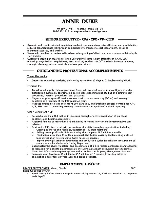 Sample Resume For Financial Controller - http\/\/wwwresumecareer - cfo resume templates
