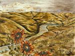 Soil painting of landscape with sunflowers.
