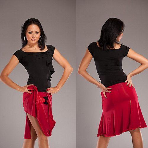 Ruby Red Lace Сальса Юбка лёгкой струящейся сальса танец юбка, [LS63_Red] - $ 100.00: Latin одежда танец, бальный танец обувь, латинские танцы юбки и платья сальса.