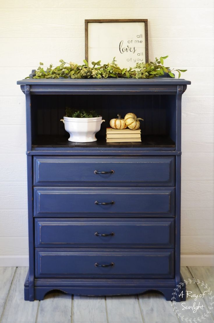 A Ray Of Sunlight Finished Furniture This Tall Dresser Featuring 4 Dovetailed Drawers And Large Open Shelf Is Painted Navy Blue With Rubbed Bronze