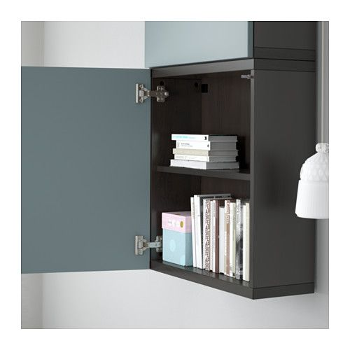 BESTÅ Wall cabinet with 2 doors, black-brown, Valviken gray-turquoise black-brown/Valviken gray-turquoise 23 5/8x7 7/8x50 3/8