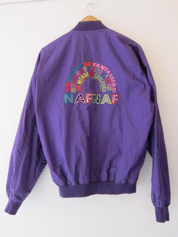 ZONE7STYLE: Vintage Naf Naf Purple Zip Up Embroidered Jacket